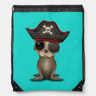 Cute Baby Sea lion Pirate Drawstring Bag