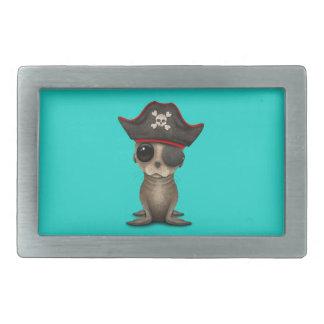 Cute Baby Sea lion Pirate Rectangular Belt Buckles