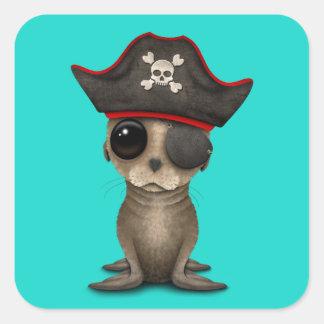 Cute Baby Sea lion Pirate Square Sticker