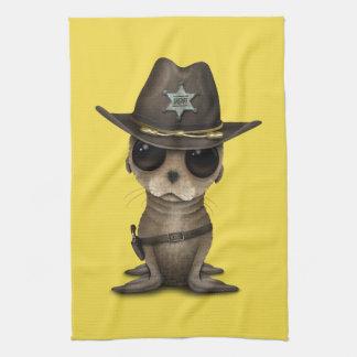 Cute Baby Sea Lion Sheriff Tea Towel