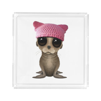Cute Baby Sea Lion Wearing Pussy Hat Acrylic Tray