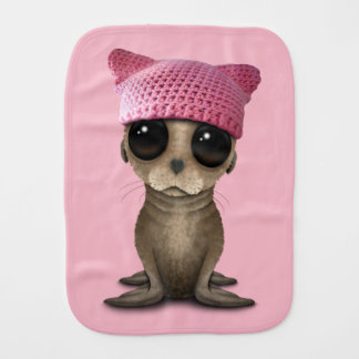 Cute Baby Sea Lion Wearing Pussy Hat Burp Cloth