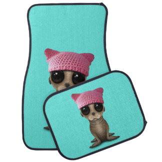 Cute Baby Sea Lion Wearing Pussy Hat Car Mat
