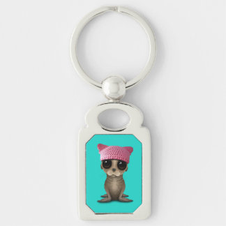 Cute Baby Sea Lion Wearing Pussy Hat Key Ring