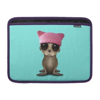 Cute Baby Sea Lion Wearing Pussy Hat MacBook Sleeve