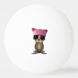 Cute Baby Sea Lion Wearing Pussy Hat Ping Pong Ball