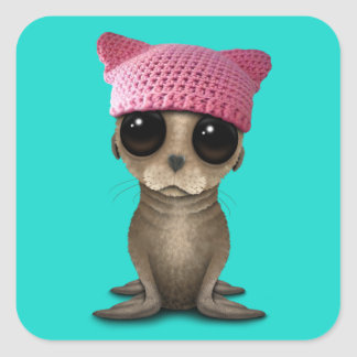 Cute Baby Sea Lion Wearing Pussy Hat Square Sticker