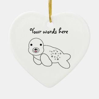 Cute baby seal pup ceramic ornament