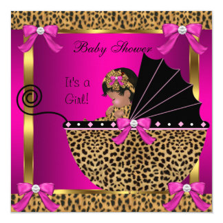 Cute Baby Shower Baby Girl Leopard Pink Gold 13 Cm X 13 Cm Square Invitation Card