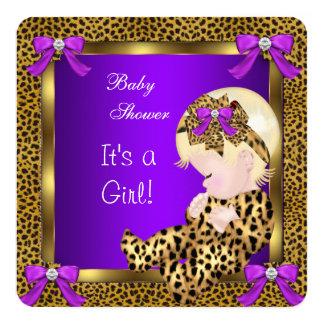Cute Baby Shower Baby Girl Leopard Purple Gold 3 13 Cm X 13 Cm Square Invitation Card