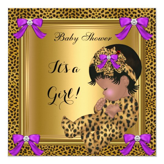 Cute Baby Shower Baby Girl Leopard Purple Gold 4 Card