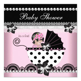 Cute Baby Shower Baby Girl Pink Black Pearl 13 Cm X 13 Cm Square Invitation Card