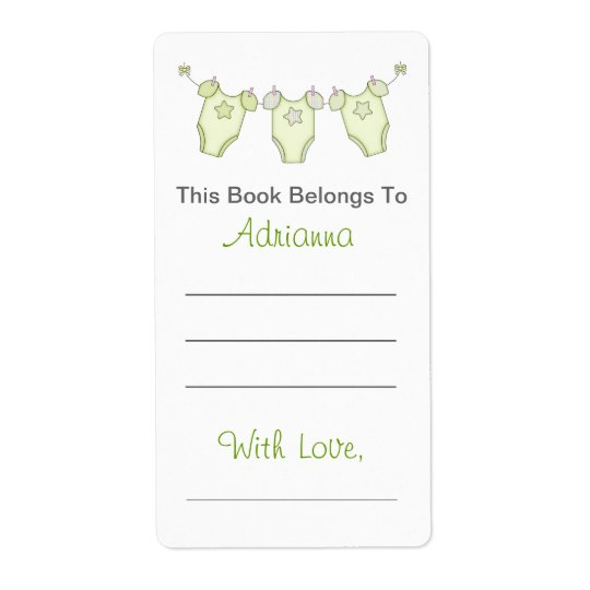 Cute Baby Shower Bookplate - Green Clothesline