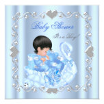 Cute Baby Shower Boy Baby Blue Swan Custom Invites