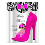 Cute Baby Shower Girl Hot Pink Baby Shoe 11 Cm X 14 Cm Invitation Card
