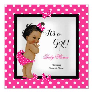 Cute Baby Shower Girl Hot Pink Black Ethnic 13 Cm X 13 Cm Square Invitation Card