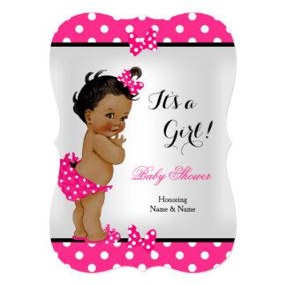 Cute Baby Shower Girl Hot Pink Black Ethnic 13 Cm X 18 Cm Invitation Card