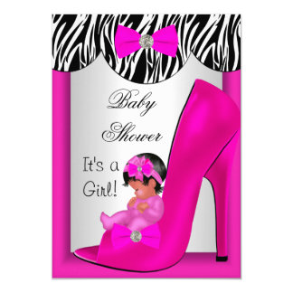 Cute Baby Shower Girl Hot Pink Ethnic Baby Shoe 2E Card