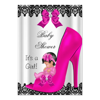 Cute Baby Shower Girl Hot Pink Shoe Black Lace 13 Cm X 18 Cm Invitation Card
