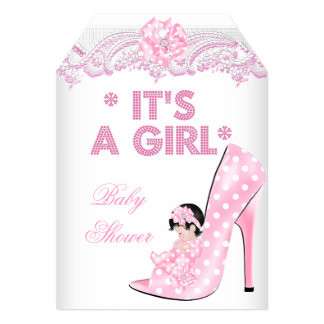 """Cute Baby Shower Girl Pink Baby Shoe Lace 2 5"""" X 7"""" Invitation Card"""