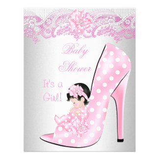 Cute Baby Shower Girl Pink Baby Shoe Lace Invitation