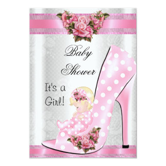 "Cute Baby Shower Girl Pink Baby Shoe Pink Roses 5"" X 7"" Invitation Card"