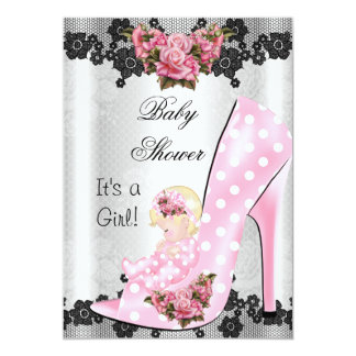 "Cute Baby Shower Girl Pink Baby Shoe Rose Lace 3 5"" X 7"" Invitation Card"