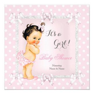 Cute Baby Shower Girl Pink Gray Brunette Card