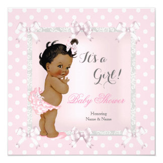 Cute Baby Shower Girl Pink Gray Ethnic 13 Cm X 13 Cm Square Invitation Card