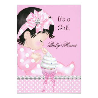 Cute Baby Shower Girl Pink Spots Cupcake 4.5x6.25 Paper Invitation Card