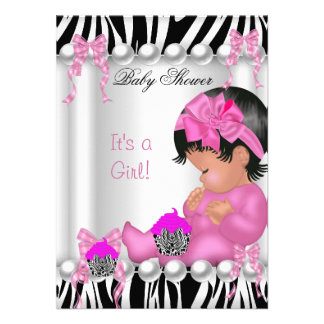 Cute Baby Shower Girl Pink Zebra cupcake Custom Invite