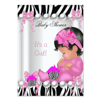 "Cute Baby Shower Girl Pink Zebra cupcake 4.5"" X 6.25"" Invitation Card"
