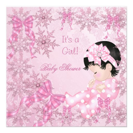 Cute Baby Shower Girl Pretty Pink Snowflakes Roses Custom Invitations