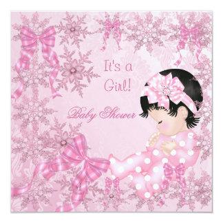 Cute Baby Shower Girl Pretty Pink Snowflakes Roses Custom Invitations