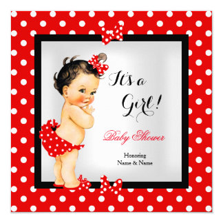 Cute Baby Shower Girl Red Black Brunette 13 Cm X 13 Cm Square Invitation Card