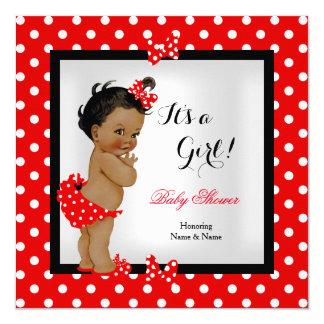 Cute Baby Shower Girl Red Black Ethnic 13 Cm X 13 Cm Square Invitation Card