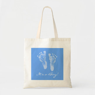 Cute Baby Shower Its a Boy Blue Baby Footprints Budget Tote Bag
