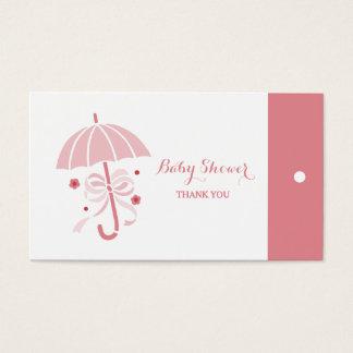 Cute Baby Shower Pink Umbrella Thank You Hang Tags
