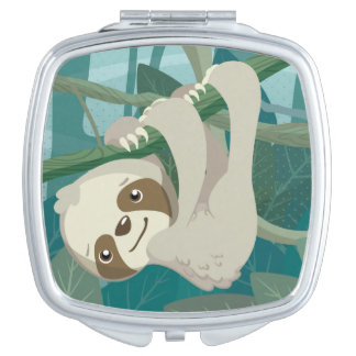 Cute Baby Sloth on a Branch Vanity Mirror