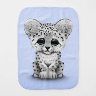 Cute Baby Snow Leopard Cub on Blue Burp Cloth