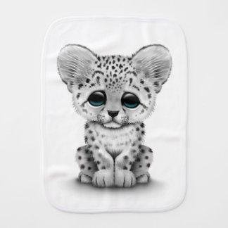 Cute Baby Snow Leopard Cub on White Baby Burp Cloth