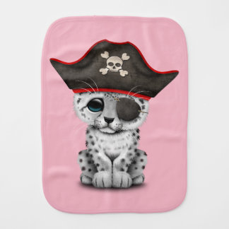 Cute Baby Snow Leopard Cub Pirate Burp Cloth
