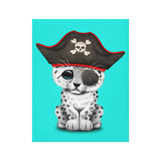 Cute Baby Snow Leopard Cub Pirate Canvas Print