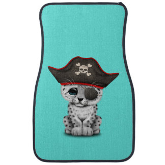 Cute Baby Snow Leopard Cub Pirate Car Mat