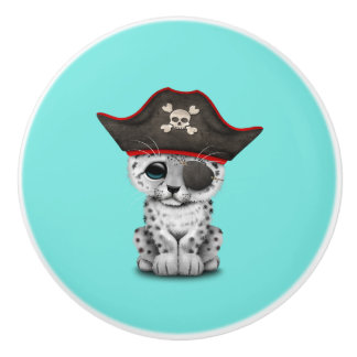Cute Baby Snow Leopard Cub Pirate Ceramic Knob
