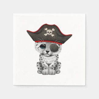 Cute Baby Snow Leopard Cub Pirate Disposable Serviettes