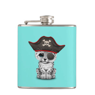 Cute Baby Snow Leopard Cub Pirate Hip Flask