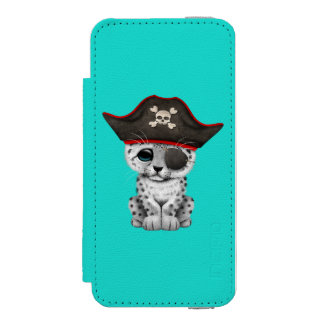 Cute Baby Snow Leopard Cub Pirate Incipio Watson™ iPhone 5 Wallet Case