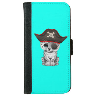 Cute Baby Snow Leopard Cub Pirate iPhone 6 Wallet Case