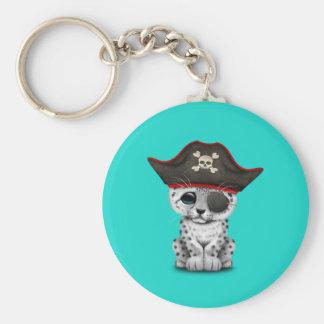 Cute Baby Snow Leopard Cub Pirate Key Ring